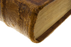 Corner of the old book with lock Royalty Free Stock Image