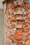 Corner of an old red brick stock image