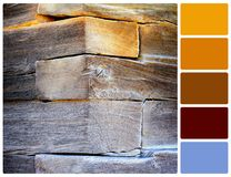 Corner of an old rural house with palette color swatches Stock Image