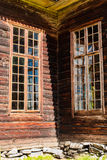 Corner Of Old Wooden Church. A detail of the wooden church of Petäjävesi, Finland royalty free stock photography