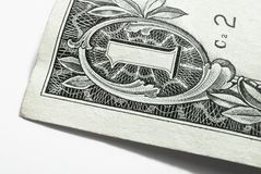 Corner of the one-dollar banknote Stock Images