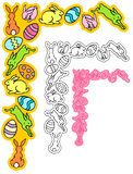 Corner ornament of easter bunnies with eggs royalty free stock image