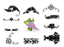 Corner ornament and floral element  set Royalty Free Stock Image