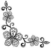 Corner ornamental lace flowers. black and white. Royalty Free Stock Images