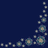 Corner pattern made of handmade paper snowflakes in quilling tec Royalty Free Stock Photography