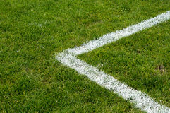 Corner of the penalty area. On a soccer field Stock Images