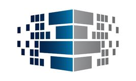 Corner perspective pixel brick wall. Cube modern business concept logo Stock Image