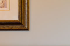 Corner of picture frame on plain background Royalty Free Stock Photos