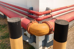 Corner pipeline connection for industrial, Fire protection. Stock Image
