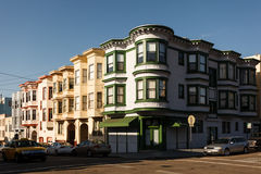 Corner of pretty neighborhood street in San Francisco bay windows Stock Photography