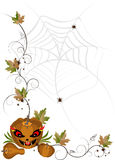 Corner of pumpkins and leaves.Banner. Stock Photography