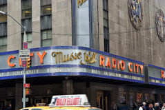 Corner of radio city music hall of new york, usa. New York, USA - November 13, 2008: corner of radio city music hall, theater building, modern architecture with Royalty Free Stock Images