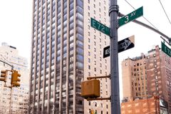Corner of 3rd Ave and E 72nd Street in NYC Stock Image