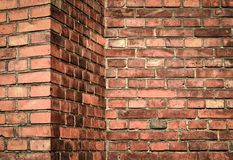 Corner red brick wall Stock Image