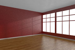 Corner of red empty room with large windows Royalty Free Stock Photo