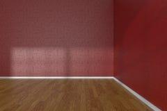 Corner of red empty room with parquet floor Stock Photo