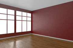 Corner of red empty room with windows Royalty Free Stock Photos