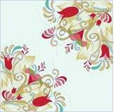 Corner red flower  pattern. Illustration of corner red flower  pattern Stock Images