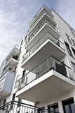 Corner of residential building. Residential area near the river Main in Frankfurt, Germany Royalty Free Stock Photo