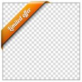 Corner ribbon. White paper frame and corner ribbon on transparent background. Put your own background image. Vector illustration Royalty Free Stock Photography
