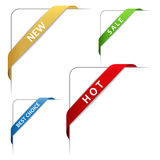 Corner ribbons. Set of colorful corner ribbons stock illustration