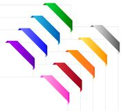Corner ribbons in various colors Royalty Free Stock Photo