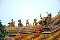 Corner of roof in Beihai Imperial Park Royalty Free Stock Images