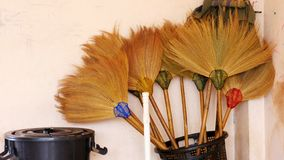 Corner room for storing brooms, trash cans royalty free stock photo
