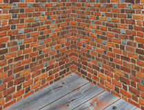 Corner in the room with walls from the red brick Stock Image