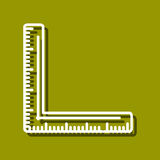 Corner Ruler. Linear icon of corner ruler for use in logo or web design. Often used for back to school design, stationery stores. Modern vector illustration for Stock Images