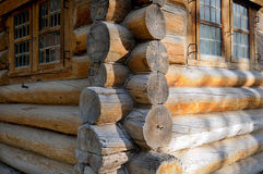Corner of Russian old wooden house from logs Royalty Free Stock Photo