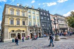 The corner of Rynok Square. Lviv, Ukraine - August 3, 2015 The corner of Rynok Square. Black House Royalty Free Stock Photo