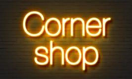 Corner shop neon sign on brick wall background. Corner shop neon sign on brick wall background royalty free stock photo