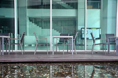 Corner sit relax pool building lateral Stock Photos