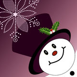Corner snowman with tophat Stock Image