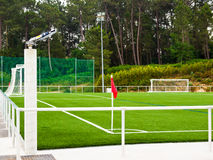 Corner soccer. Corner kick. Training camp in Galicia, Spain Royalty Free Stock Photography