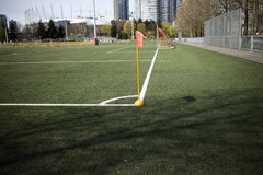 Corner of a soccer field Royalty Free Stock Photography