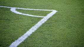 Corner in a soccer field Royalty Free Stock Image