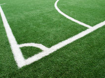 Corner of soccer field Made of artificial grass Stock Photography