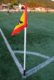 Corner of a soccer field. White markings on a green lawn at the corner of the football field Royalty Free Stock Image