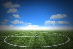 Corner soccer green grass field with blue sky Stock Images
