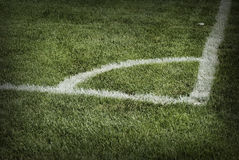 Corner of a soccer ground Royalty Free Stock Image