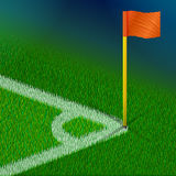 Corner of soccer pitch with flag. Part of football field for corner kick. Qualitative vector illustration for soccer, sport game, championship, gameplay, etc. It Royalty Free Stock Photography