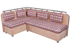 Corner sofa with upholstery wicker of colored fabric Royalty Free Stock Images
