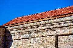 Corner of a stone building. stock images