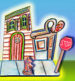 Corner STore. Drawing of a street corner with a stop sign and a fire hydrant Stock Photos