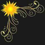 Corner with sun and curved lines on a black background. Corner with sun and curved lines on a black background, beautiful illustration Stock Image