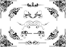 Corner swirl design. Abstract corner scroll design in black.Each of them group singly Royalty Free Stock Images