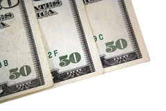 Corner of three US fifty dollar bills Stock Photo