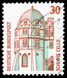 Corner tower of Celle castle, Sights serie, circa 1987. MOSCOW, RUSSIA - MARCH 23, 2019: Postage stamp printed in Germany shows Corner tower of Celle castle royalty free stock image